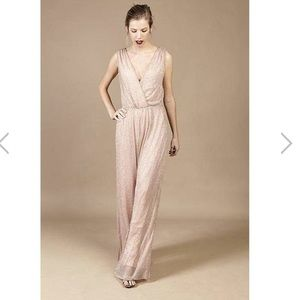 Like & dot Sparkly champagne wide leg jumpsuit